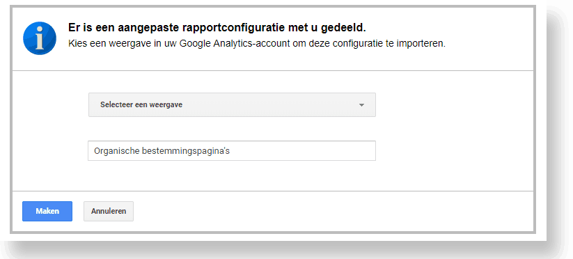 Delen aangepast rapport in Google Analytics