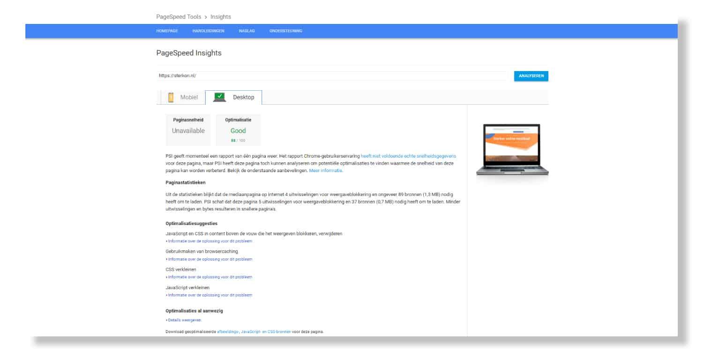 Voorbeeld PageSpeed Insights score van sterkon.nl
