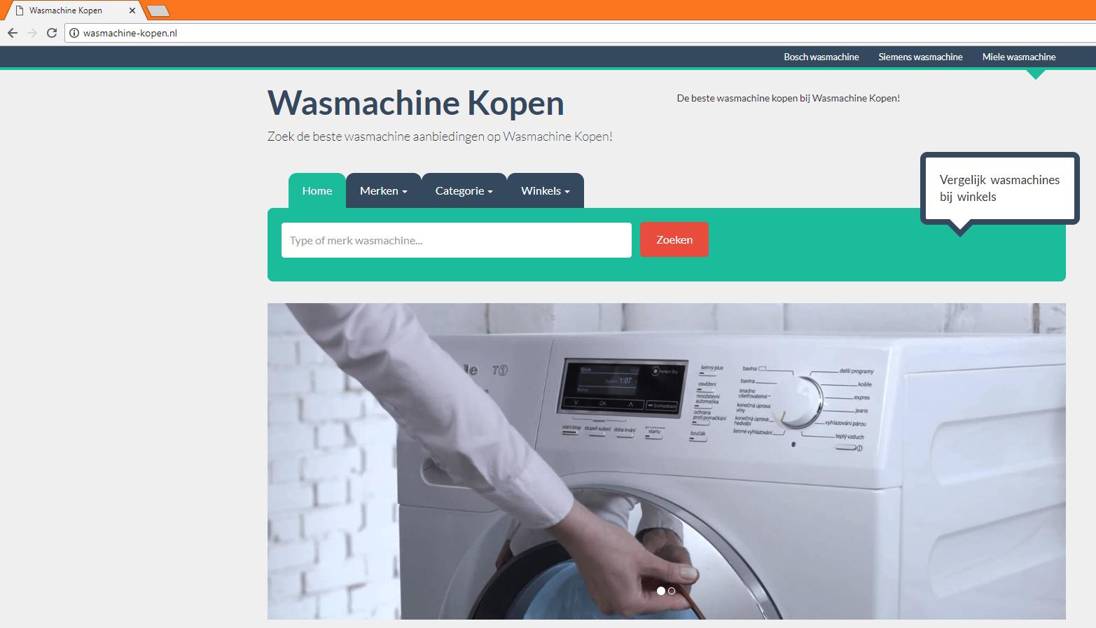 Voorbeeld van een website met een exact match domain