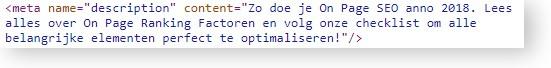 Voorbeeld van on page SEO op deze pagina: een wervend geschreven meta description tag met het hoofdzoekwoord erin verwerkt.