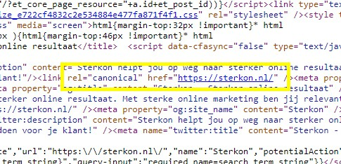 """Voorbeeld van een rel=""""canonical"""" tag in HTML"""